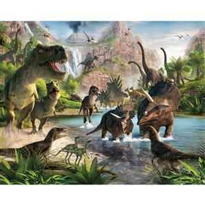 Peinture murale vallée des dinosaures Walltastic, non encollée, 96 po x 120 po