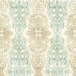 Kenneth James Alhambra Unpasted Nonwoven Wallpaper - 56.4-sq. ft. - Turquoise and Beige