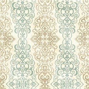 Papier peint non encollé et non tissé Alhambra par Kenneth James, 56,4 pi², turquoise et beige