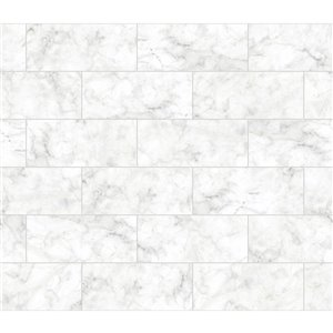 Tuile autocollante pour dosseret effet marbre de Brewster, 18 po x 108 po