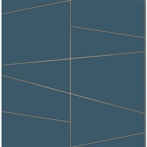Papier peint non encollé et non tissé Essentials par Brewster, 56,4 pi², bleu