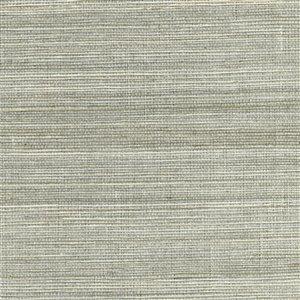 Papier peint non encollé en toile de ramie Canton Road par Kenneth James, 72 pi², argent