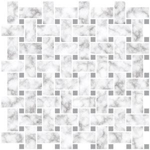 InHome Carrara Self-Adhesive Peel and Stick Backsplash Tile - 20-in x 20-in - Set of 4 Panels