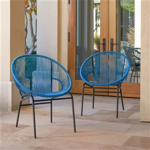 Starsong Sonora Wicker Patio Chairs - Peacock - Set of 2