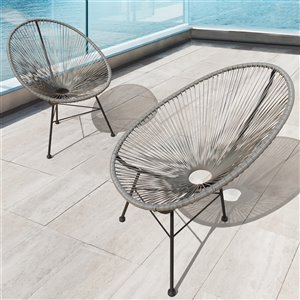 Starsong Hidalgo Wicker Patio Chairs -Grey - Set of 2