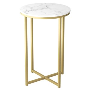 Safdie & Co. Accent Table - Round - 24-in x 15.55-in - Marble and Gold Metal