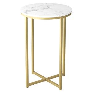 Table d'appoint Safdie & Co. ronde, 24 po x 15,55 po, marbre et métal doré