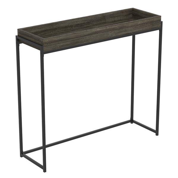 Table console Safdie & Co., plateau creux, 35,5 po x 39,5 po, gris foncé et métal noir