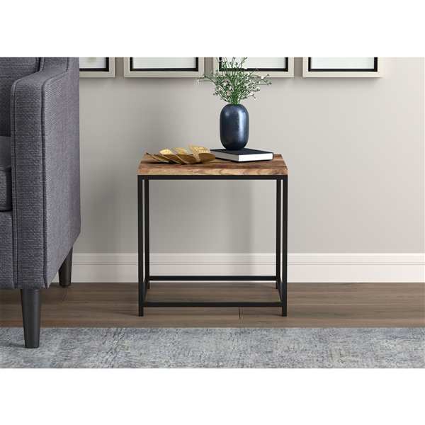 Safdie & Co. Accent Table - Square - 16-in x 16-in - Brown Reclaimed Wood and Black Metal