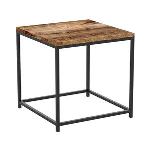 Table d'appoint Safdie & Co. carrée, 16 po x 16 po, bois brun récupéré et métal noir