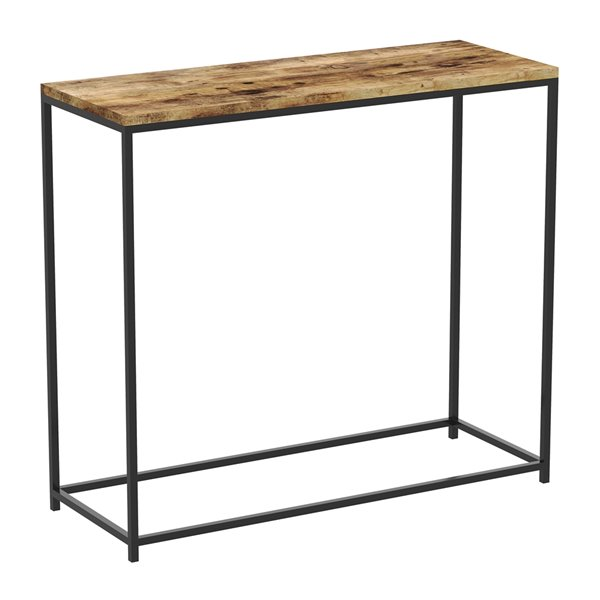 Safdie & Co. Console Table - Rectangular - 28-in x 31-in - Brown Reclaimed Wood and Black Metal
