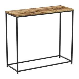 Table console Safdie & Co., rectangulaire, 28 po x 31 po, bois brun récupéré et métal noir