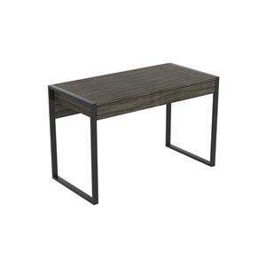 Safdie & Co. Computer Desk - 2 Drawers - 30-in x 47.5-in - Dark Grey and Black Metal