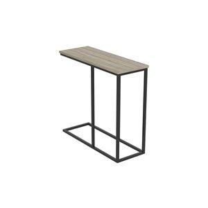 Table d'appoint Safdie & Co. en forme de C, 25,5 po x 27,5 po, taupe foncé et métal noir