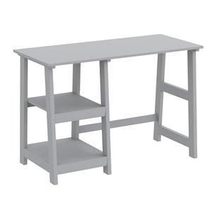 Safdie & Co. Computer Desk - 2 Open Shelves - 30-in x 44-in - Light Grey