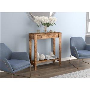 Table console Safdie & Co., 1 tablette, 34 po x 31,25 po, bois brun récupéré