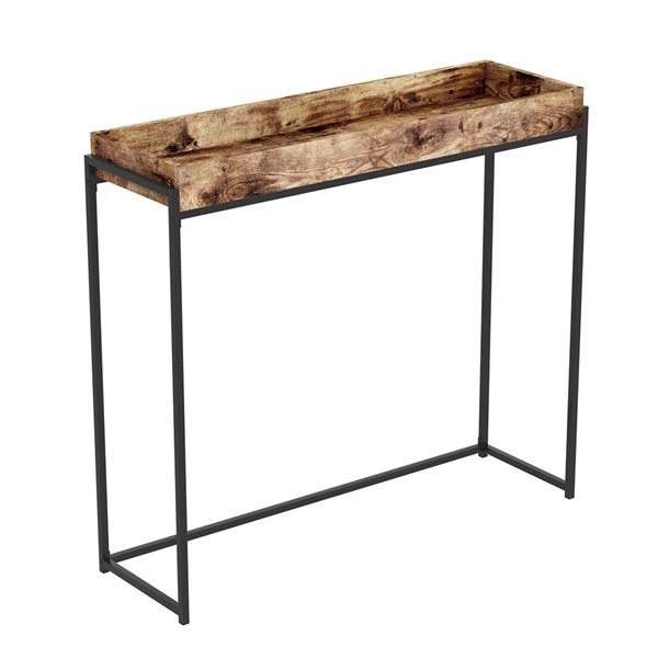 Safdie & Co. Console Table - Sunken Tray - 35.5-in x 39.5-in - Brown Reclaimed Wood and Black Metal