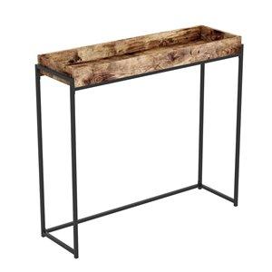 Table console Safdie & Co., plateau creux, 35,5 po x 39,5 po, bois brun récupéré et métal noir