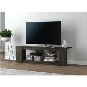 Meuble de télévision Safdie & Co., 2 tablettes avec verre trempé, 55 po x 16 po, gris foncé