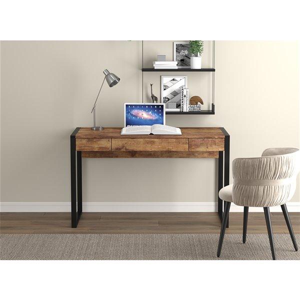 Bureau d'ordinateur Safdie & Co., 3 tiroirs, 30 po x 50,5 po, bois brun récupéré et métal noir