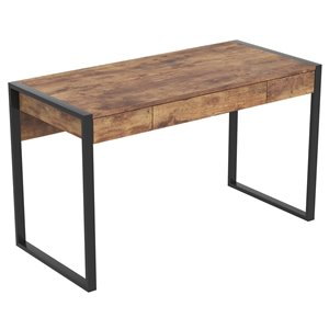 Safdie & Co. Computer Desk - 3 Drawers - 30-in x 50.5-in - Brown Reclaimed Wood and Black Metal