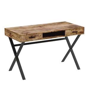 Safdie & Co. Computer Desk - 2 Drawers and 1 Shelf - 29.5-in x 47.5-in - Brown Reclaimed Wood and Black Metal