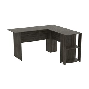 Safdie & Co. L-Shaped Computer Desk - 2 Shelves - 28.25-in x 55-in - Dark Grey