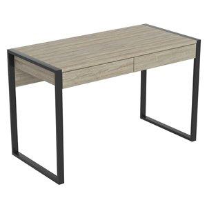 Safdie & Co. Computer Desk - 2 Drawers - 30-in x 47.5-in - Dark Taupe and Black Metal