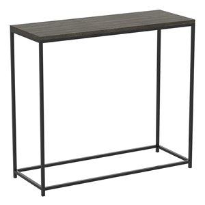 Table console Safdie & Co., rectangulaire, 28 po x 31 po, gris foncé et métal noir
