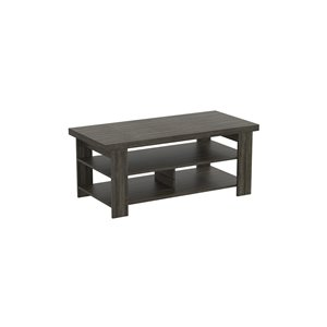 Safdie & Co. Coffee Table - 3 shelves - 41-in x 19-in - Dark Grey