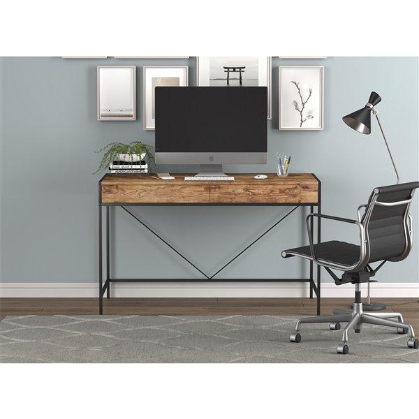 Bureau d'ordinateur Safdie & Co., 2 tiroirs, 30 po x 48 po, bois brun récupéré et métal noir