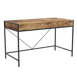 Safdie & Co. Computer Desk - 2 Drawers - 30-in x 48-in - Brown Reclaimed Wood and Black Metal