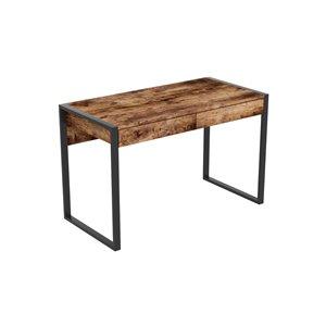 Bureau d'ordinateur Safdie & Co., 2 tiroirs, 30 po x 47,5 po, bois brun récupéré et métal noir
