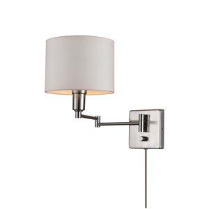 Globe Electric Bernard 1-Light Wall Sconce - Plug-In or Hardwire - Brushed Steel