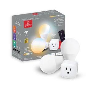 Ensemble de démarrage Wi-Fi intelligent Globe Electric, 1x prise Wi-Fi intelligente, 2x ampoules à DEL intelligentes