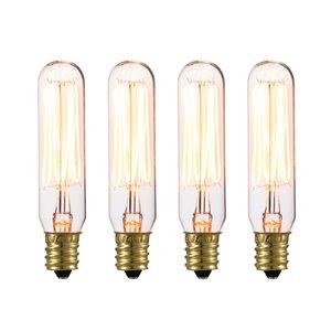 Ampoule incandescente mini-tube à design Vintage Edison de Globe Electric, 40W, paquet de 4