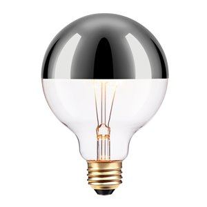 Ampoule incandescente à design Vintage Edison Chromeo de Globe Electric, 220 Lumes, 40W, argent