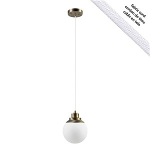 Globe Electric Portland 1-Light Pendant - Satin Brass - Frosted White Glass Shade