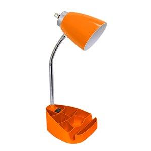 Lampe de bureau organisateur col de cygne LimeLights avec support et prise de charge, orange