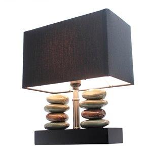 Lampe de table rectangulaire en céramique empilée avec pierre et abat-jour Elegant Designs, 14 po, noire