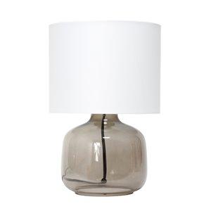 Lampe de table en verre avec abat-jour en tissu Simple Designs, 13 po, fumée et blanche