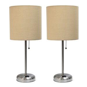 Ensemble moderne/contemporain de 2 lampes LimeLights, 2lampes de table, abat-jour brun, acier