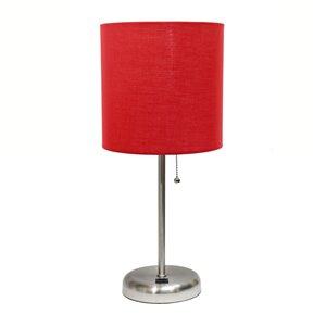 Lampe bâton avec port de charge USB et abat-jour en tissu LimeLights, 19,5 po, rouge