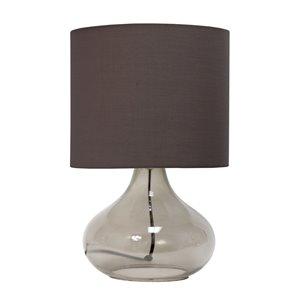 Lampe de table goutte de pluie en verre Simple Designs, 13,5 po, grise fumée