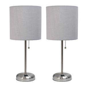 Ensemble moderne/contemporain de 2 lampes LimeLights, 2lampes de table, abat-jour gris, acier