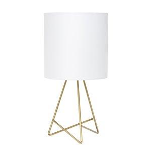 Lampe de table avec abat-jour en tissu Simple Designs, 13,5 po, dorée et blanche