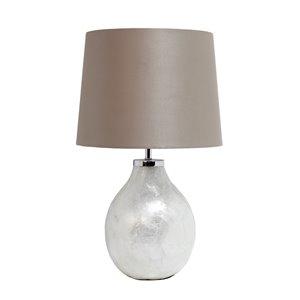 Lampe de table avec abat-jour en tissu Simple Designs, 18 po, perle
