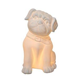 Lampe de table en forme de chiot, porcelaine Simple Designs, 10,62 po, blanche