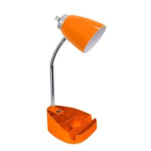 Lampe de bureau organisateur à col de cygne LimeLights avec support et port USB, orange