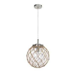 Elegant Designs Buoy Netted Brushed Nickel Coastal Glass Pendant with Natural Rope - Clear